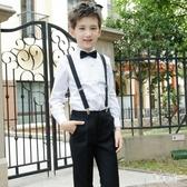 男童禮服 白襯衫背帶長褲套裝校服中大童主持人鋼琴演出服TA472『男神港灣』