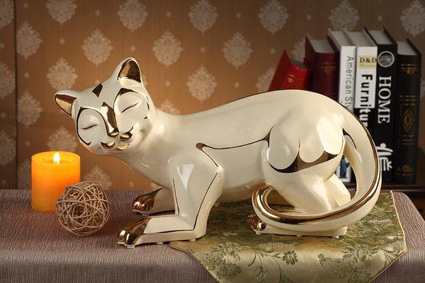 歐式 陶瓷 貓 動物 創意擺件 工藝品