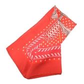 HERMES 愛馬仕 Boucles et Galons du Tsar 釦環圖案紅色絲質力方巾 90X90