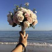 婚紗影樓攝影拍照道具新娘手捧花結婚新款粉紅白仿真韓式婚禮花束 【PINK Q】