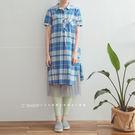長版衫   格紋襯衫式棉麻洋裝   單色原單-小C館日系