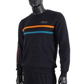 Skechers Logo Crew [L420M060-002K] 男 長袖 上衣 刷毛 保暖 撞色 黑