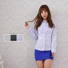 韓版OL修腰 雙荷葉線條藍長袖女襯衫【Sebiro西米羅男女套裝制服】001003953
