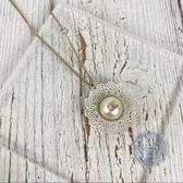 BRAND楓月 CHANEL 香奈兒 經典 白花邊 LOGO 珍珠 項鍊 墜鍊 配件 精品