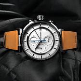 ISSEY MIYAKE / VK67-0010U.SILAY008Y / 三宅一生W系列 和田智設計師汽車儀錶板計時牛皮手錶 白x卡奇 43mm
