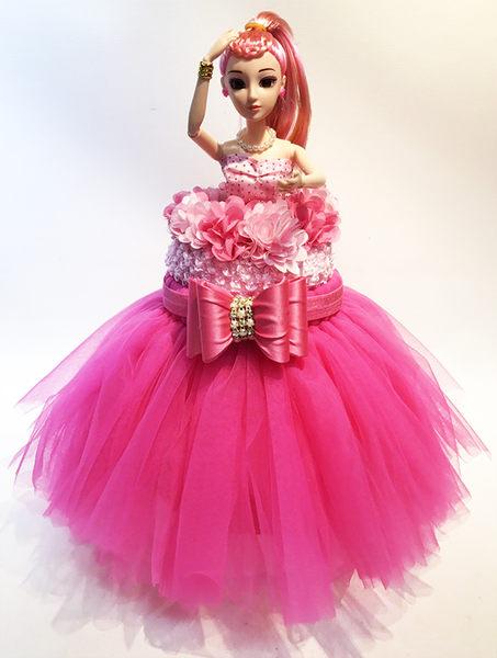 娃娃屋樂園~芭比蓬蓬紗裙尿布蛋糕 - 甜美桃 每組1680元/生日蛋糕/彌月禮滿月禮週歲禮