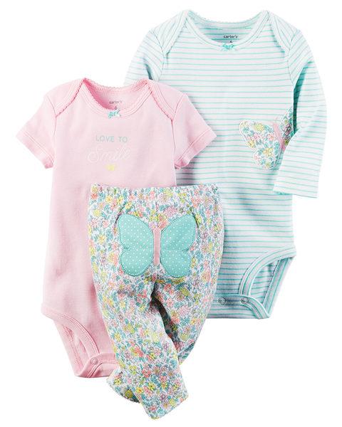 3件組長短袖包屁衣+長褲套裝: 粉藍蝴蝶: 126G589