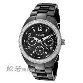 FOSSIL 計時陶瓷腕錶-黑