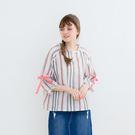 【MOLING】直條紋蝴蝶結袖上衣