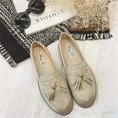 英倫風雕花流蘇平底鞋 擦色厚底布洛克鞋【多多鞋包店】z7177