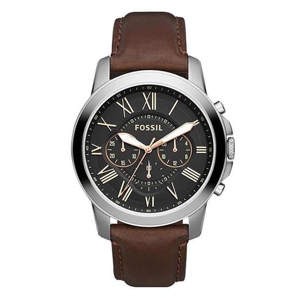 【Fossil】Grant羅馬商務三眼時尚摩登腕錶-黑面棕/FS4813IE/台灣總代理公司貨享兩年保固