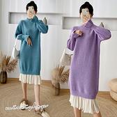 孕婦裝 MIMI別走【P521585】冬暖美型 針織造型拼接雪紡連身裙 孕婦洋裝