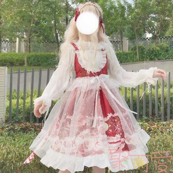 JSK吊帶洛麗塔連身裙日系lolita洋裝網紗甜美公主裙長袖【聚可愛】