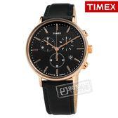 TIMEX 天美時 / TXTW2T11600 /  美國品牌 INDIGLO專利冷光照明 三眼計時 日期 真皮手錶 黑x玫瑰金框 41mm