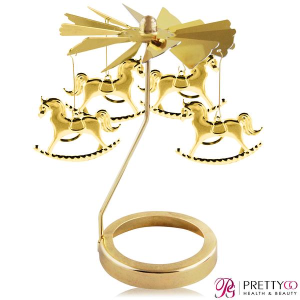 O Pretty 歐沛媞 歐式旋轉燭罩蠟燭台(金)-旋轉木馬 限量加贈YANKEE CANDLE 香氛蠟燭【美麗購】