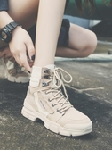 馬丁靴黑色馬丁靴女夏季新款英倫風薄款透氣百搭高筒鞋帆布短靴子 聖誕節
