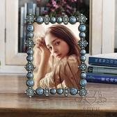 金屬相框 7寸金屬相框鑲鉆復古婚紗照相架擺台家居飾品