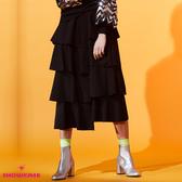 【SHOWCASE】休閒款細褶多層次前短後長中長裙(黑)