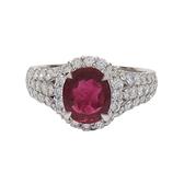 JEWELRY 1.47ct紅寶石鑲鑽四爪戒指 PT900 10.5號 【BRAND OFF】