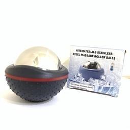 冰敷舒緩 保健養生功夫球 康復健身massage roller ball 緩解疲勞不鏽鋼金屬訓練球 運動紓壓冰滾球(黑)