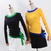 新款入冬韓版時尚潮流撞色花邊半高領修身長袖針織衫打底女