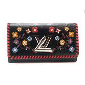 【台中米蘭站】全新品 Louis Vuitton 限量款編織 Twist EPI 長夾(M62772-黑)