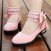 單鞋 女童皮鞋秋款女孩白色公主鞋軟底兒童淺口單鞋新款寶寶休閒鞋 玫瑰女孩
