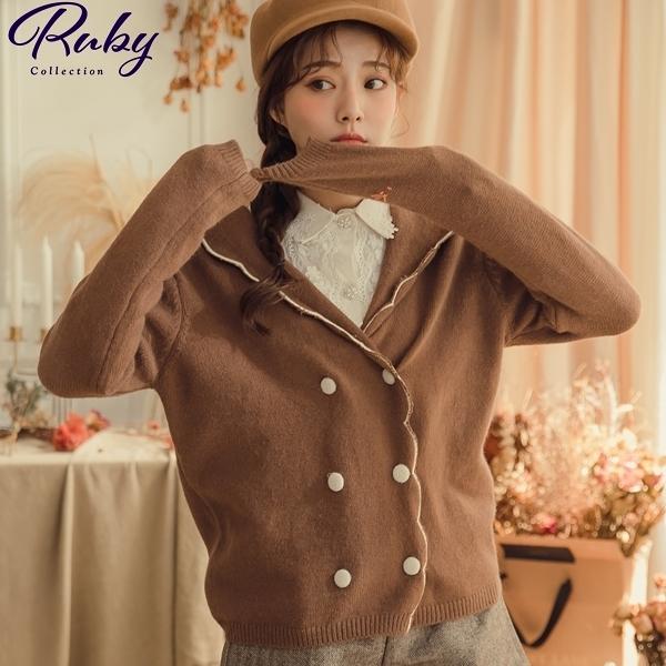 外套 V領花邊排扣針織外套-Ruby s 露比午茶