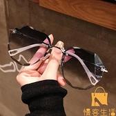 墨鏡女圓臉韓版潮時尚太陽眼鏡防紫外線大臉顯瘦【慢客生活】