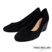Tino Bellini巴西進口典雅皮雕楔型鞋_黑 TF8573 歐洲進口款