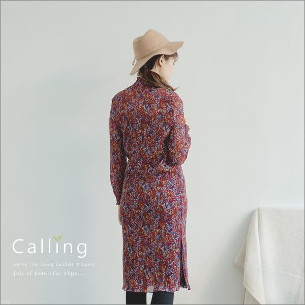 洋裝 - 甜美味半高領壓皺側叉雪紡連身洋裝 一色 Calling1230
