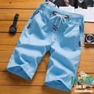 純棉短褲男士五分褲夏季休閒寬鬆外穿大褲衩沙灘褲【風之海】