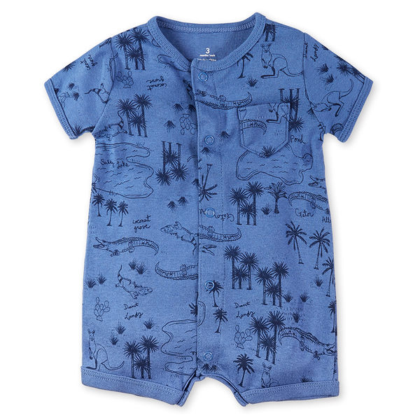 短袖連身 Carter's / Carter / 卡特 短袖連身衣 / 哈衣 - 深藍動物森林 118G336