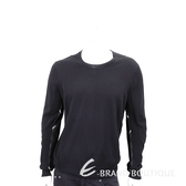 BURBERRY 格紋細節設計美麗諾套頭羊毛衫(男款/黑色) 1840472-01