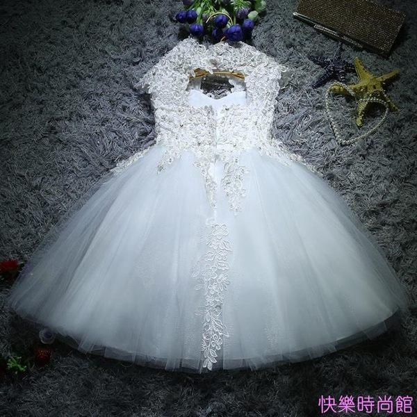 兒童禮服公主蓬蓬裙花童女童婚紗生日鋼琴主持演出服晚禮服白色冬