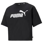 PUMA 女款黑色ESS短版短袖T恤-NO.58686601