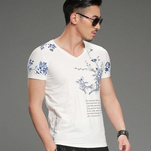 短袖T恤男韓版上衣 中國風短袖T恤修身款男梅花印花V領男裝《印象精品》t3405