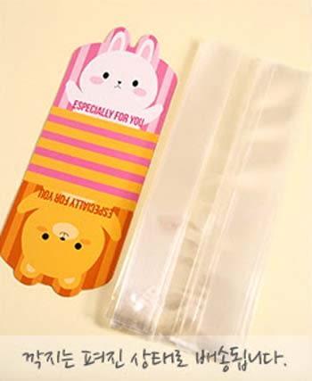 48入 小熊兔子雙面立體袋 平口袋+紙墊 磨砂食品袋 包裝袋 點心袋