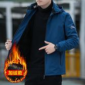 男士寬鬆立領夾克冬裝加絨 防寒男生短外套 韓版加厚羽絨外套 男個性百搭秋冬棉服潮流時尚外套