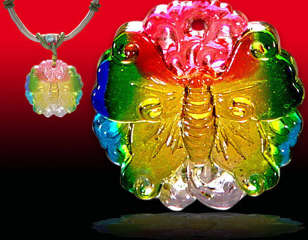鹿港窯~居家開運水晶琉璃項鍊~蝴蝶 附精美包裝◆免運費送到家◆