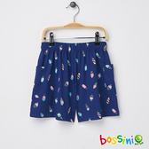 素色寬版短褲02藍-bossini女童