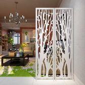 發財樹屏風摺屏影視墻背景玄關時尚白色雕花摺疊屏風櫥窗擺設ATF 米希美衣