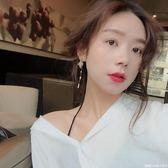 氣質長款玻璃珠耳釘韓國簡約百搭度假感珍珠流蘇耳環   糖糖日系森女屋店