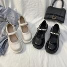厚底鞋/楔型鞋 法式復古英倫風小皮鞋女夏新款珍珠仙女一字帶厚底瑪麗珍單鞋