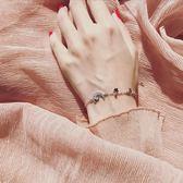 銀微鑲?五角星星月亮手?女日韓版學生