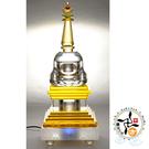 黃晶佛陀涅槃塔(高30公分)附LED燈座(插電式) 【十方佛教文物】