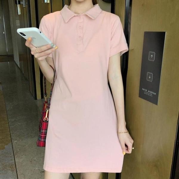POLO領洋裝 韓版學院風減齡POLO領短袖粉色短裙 百搭繫帶休閒洋裝女學生夏 果果生活館