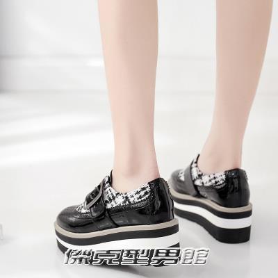 【快出】鬆糕鞋厚底鬆糕鞋方頭繫帶增高單鞋227-1