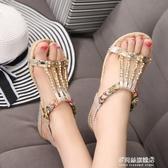 平底涼鞋涼鞋海邊女夏新款韓版百搭度假平底鞋女士平跟鞋波西米亞鞋子多莉絲旗艦店