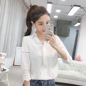 白色襯衫女短袖襯衣女裝氣質職業裝工作服七分袖雪紡衫  伊莎公主